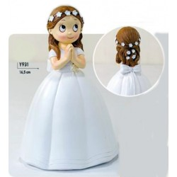 Figura Comunión niña vestido largo y corona flores