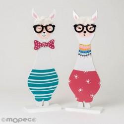 Figura Llama de madera con gafas