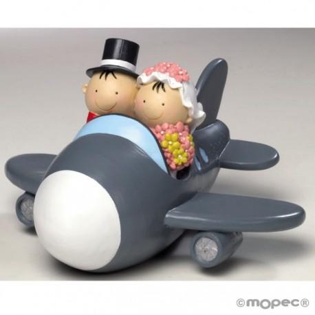 Figura pastel-hucha novios Pit&Pita avión