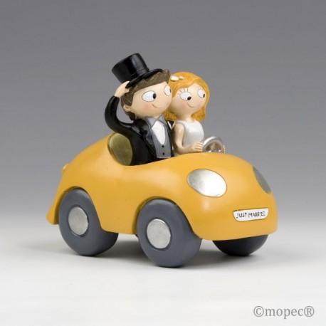 Figura pastel novios Pop & Fun en coche