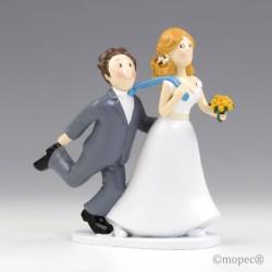 Figura pastel boda -Sí o Sí- tirando de la corbata