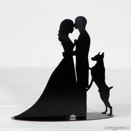 Figura /portavela pastel novios y perro