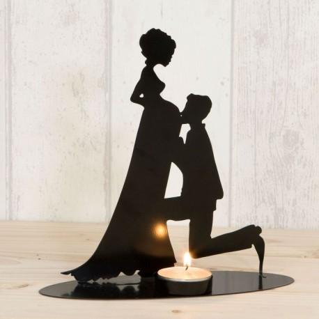 Figura/portavela pastel, novia embarazada vela incluída