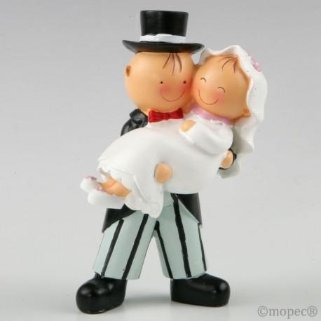Figura pastel Pit&Pita novia en brazos