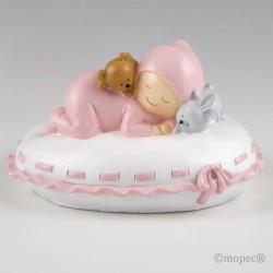 Figura para pastel + hucha bebé almohada rosa