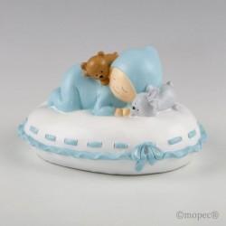 Figura pastel + hucha bebé almohada azul