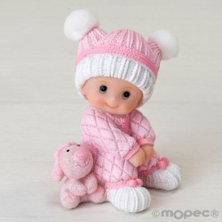 Figura pastel niña bebé sentada con peluche