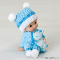 Figura pastel niño bebé sentado con peluche