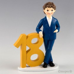 Figura para pastel 18º aniversario chico chaqueta azul