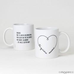 Taza cerámica corazón en caja regalo para Mamá