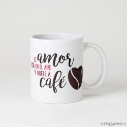Taza cerámica El Amor...Huele a Café en caja regalo
