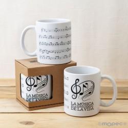 Taza con Partitura Musical en Caja de Regalo