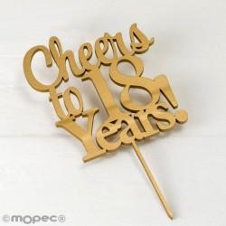 Cake topper Cheers to 18 years en color dorado