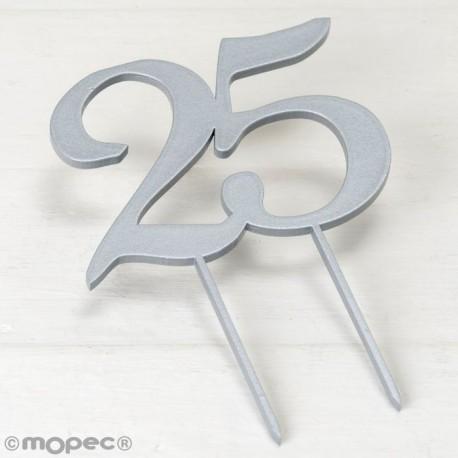 Cake topper de madera 25 aniversario