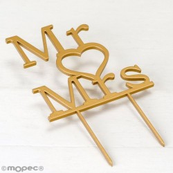 Cake Topper decorativo para tarta de boda Mr & Mrs