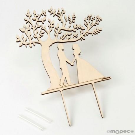 Cake topper madera novios Árbol de la Vida