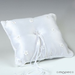 Cojín alianzas flores con perlitas blanco