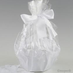 Cesta tul blanco adornada con 288 pétalos blancos
