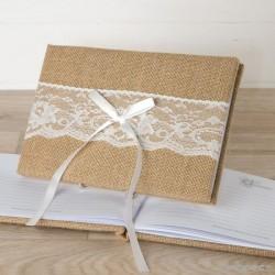 Libro firmas yute y puntilla en caja regalo