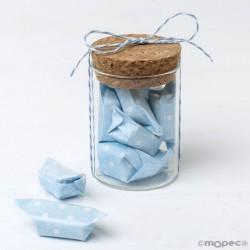 Tarro de cristal con 5 caramelos azules a topos